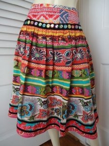 WD.NY Old World Peasant Gathered Lined Sequins Ribbons Vibrant Florals Skirt Multi-Color