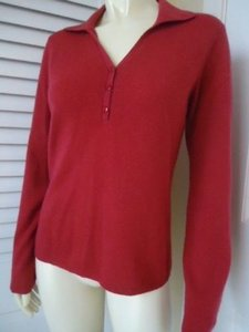 Geneva Cashmere Knit Cranberry Red Half Button Chic Sweater