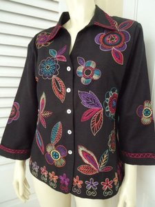 Other Scott Taylor Blazer Black Silk Blend Embroidered Button Front Lined Boho Chic