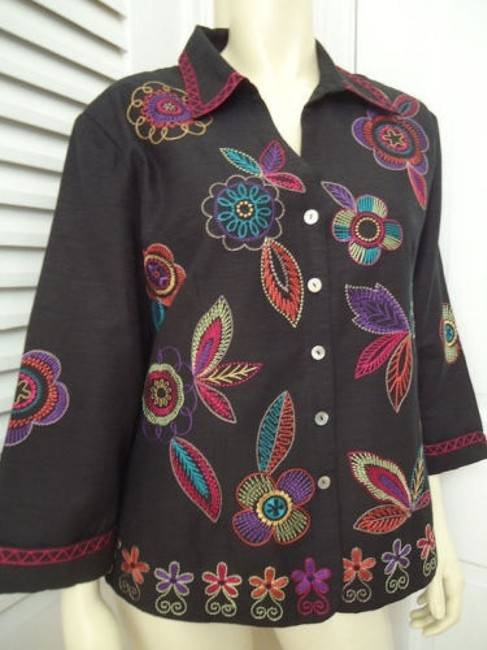 Other Scott Taylor Blazer Black Silk Blend Embroidered Button Front Lined Boho Chic Image 2
