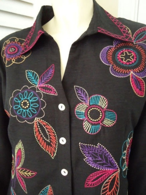 Other Scott Taylor Blazer Black Silk Blend Embroidered Button Front Lined Boho Chic Image 3