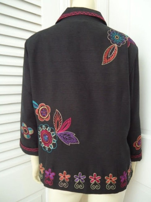 Other Scott Taylor Blazer Black Silk Blend Embroidered Button Front Lined Boho Chic Image 4