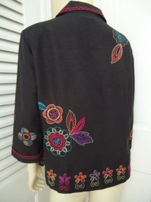 Other Scott Taylor Blazer Black Silk Blend Embroidered Button Front Lined Boho Chic Image 5