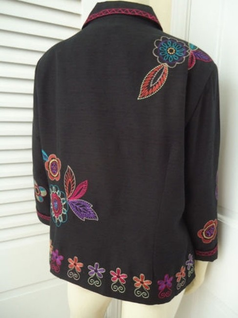 Other Scott Taylor Blazer Black Silk Blend Embroidered Button Front Lined Boho Chic Image 6