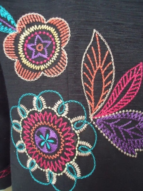 Other Scott Taylor Blazer Black Silk Blend Embroidered Button Front Lined Boho Chic Image 7