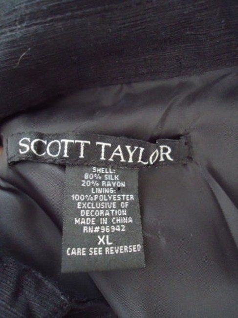 Other Scott Taylor Blazer Black Silk Blend Embroidered Button Front Lined Boho Chic Image 8