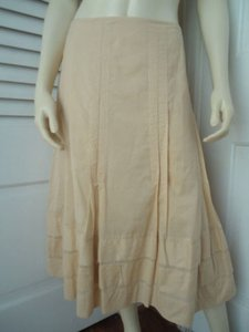 CAbi Peasant Boho Vertical Stitching To Pleated Hem Maxi Skirt Light Peach