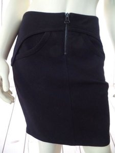 T by Alexander Wang Knit Poly Rayon Spandex Stretch Mini Zipper Sexy Skirt Black