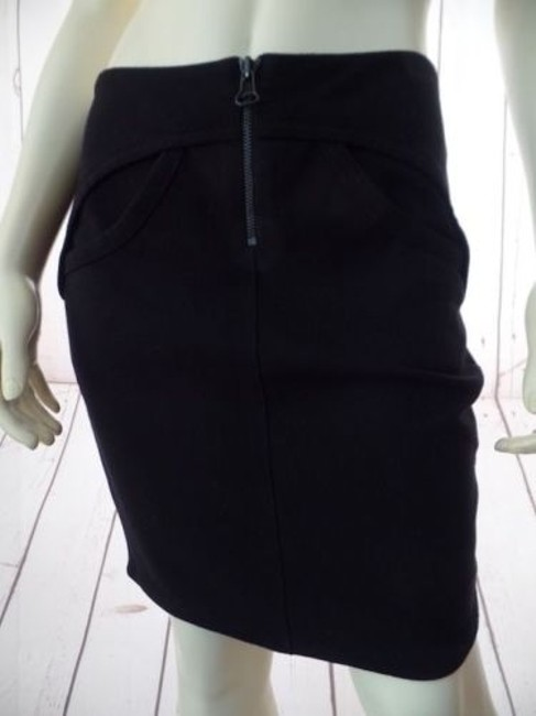 T by Alexander Wang Knit Poly Rayon Spandex Stretch Mini Zipper Sexy Skirt Black Image 1