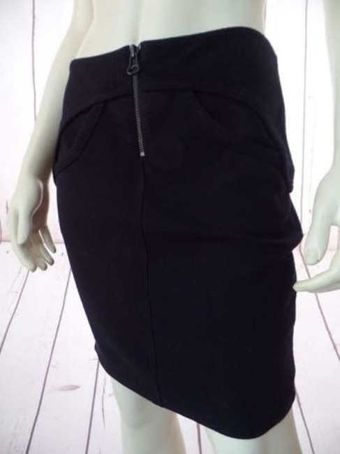 T by Alexander Wang Knit Poly Rayon Spandex Stretch Mini Zipper Sexy Skirt Black Image 2