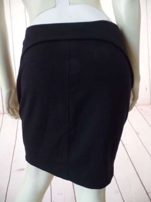 T by Alexander Wang Knit Poly Rayon Spandex Stretch Mini Zipper Sexy Skirt Black Image 4