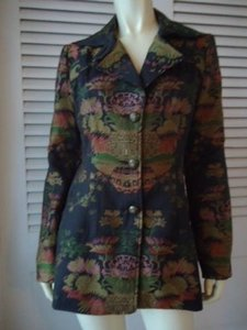 CAbi Cabi Long Floral Satin Brocade Blazer Opera Coat Style 704 Lined Gorgeous