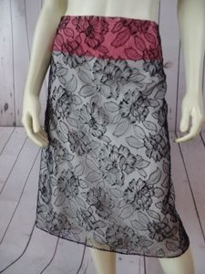 Other Mayle Anthropologie Viscose Nylon Floral Lined Zip Sexy Skirt Black Lace Overlay, Salmon & White Lining