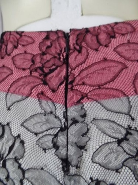 Other Mayle Anthropologie Viscose Nylon Floral Lined Zip Sexy Skirt Black Lace Overlay, Salmon & White Lining Image 10
