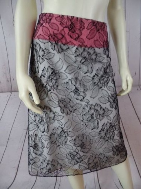 Other Mayle Anthropologie Viscose Nylon Floral Lined Zip Sexy Skirt Black Lace Overlay, Salmon & White Lining Image 2