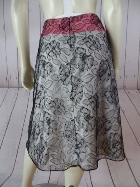 Other Mayle Anthropologie Viscose Nylon Floral Lined Zip Sexy Skirt Black Lace Overlay, Salmon & White Lining Image 5