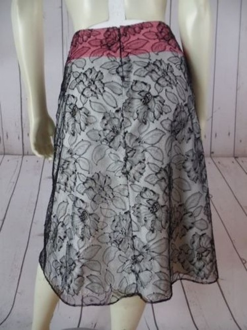 Other Mayle Anthropologie Viscose Nylon Floral Lined Zip Sexy Skirt Black Lace Overlay, Salmon & White Lining Image 6