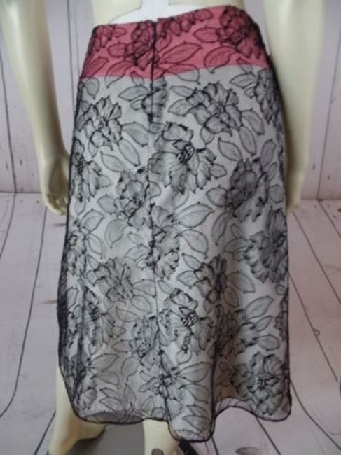 Other Mayle Anthropologie Viscose Nylon Floral Lined Zip Sexy Skirt Black Lace Overlay, Salmon & White Lining Image 8