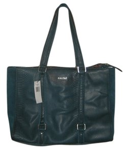 Calvin Klein Suede Leather Snake Pockets Tote in Teal Peacock