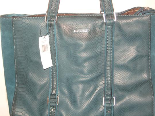 Calvin Klein Suede Leather Snake Pockets Tote in Teal Peacock Image 1