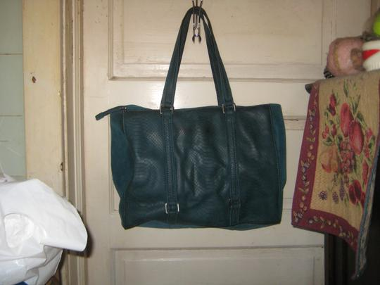 Calvin Klein Suede Leather Snake Pockets Tote in Teal Peacock Image 3