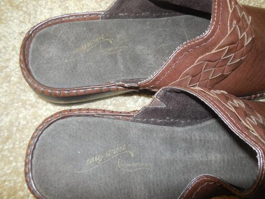 Easy Street New Without Tags Leather No Shoebox Braided Comfort Wave Brown Mules Image 4