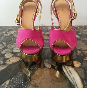 Charlotte Olympia dark pink and gold Platforms