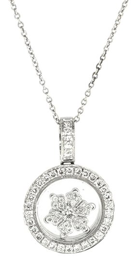 Other 18K White Gold 0.58Ct Diamond Floating Snow Pendant Necklace 16