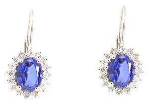Other 14K White Gold 0.95Ct Diamond 2.50Ct Infused Sapphire Earrings