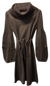 Calvin Klein short dress Taupe Brown Sweater Cowl Neck Ribbed Taupe on Tradesy