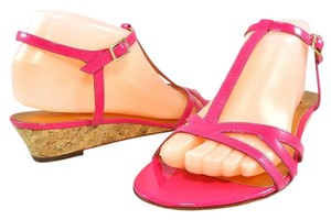 Kate Spade Patent Leather Wedge Strappy Ankle Strap Pink Sandals