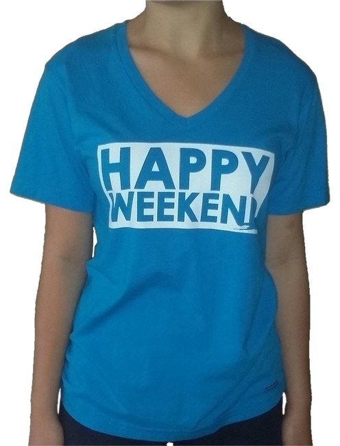"Peace Love World Turquoise ""Happy Weekend"" V-neck (Medium) Tee Shirt Size 8 (M) Peace Love World Turquoise ""Happy Weekend"" V-neck (Medium) Tee Shirt Size 8 (M) Image 1"