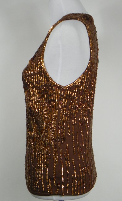 DKNY Sequin Silk Knit Stretchy Sleeveless Top Brown