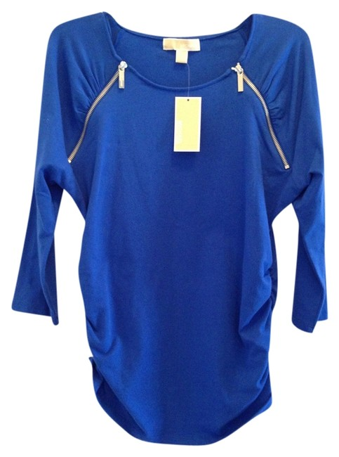 Item - Royal Blue New Goldtone Logo Zippers Ruched Sides Large X Large Tunic Size 16 (XL, Plus 0x)