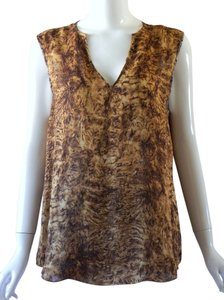 Oscar de la Renta Silk Sleeveless Animal Print Blouse Top Brown/Gold