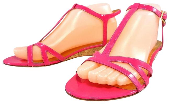 Item - Pink Comfortable Ankle T-strap Leather Low Cork Strappy Sandals 38.5 Wedges Size US 8.5 Regular (M, B)
