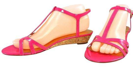 Kate Spade Patent Leather Sandal Strappy Ankle Strap Pink Wedges Image 1