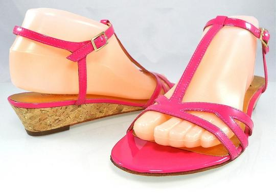 Kate Spade Patent Leather Sandal Strappy Ankle Strap Pink Wedges Image 2