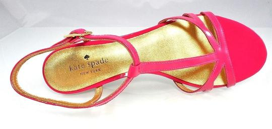 Kate Spade Patent Leather Sandal Strappy Ankle Strap Pink Wedges Image 3
