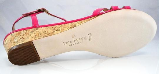 Kate Spade Patent Leather Sandal Strappy Ankle Strap Pink Wedges Image 4