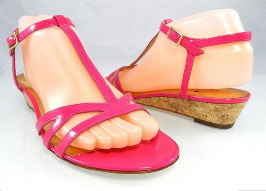 Kate Spade Patent Leather Sandal Strappy Ankle Strap Pink Wedges Image 5