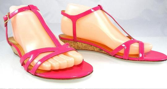 Kate Spade Patent Leather Sandal Strappy Ankle Strap Pink Wedges Image 6