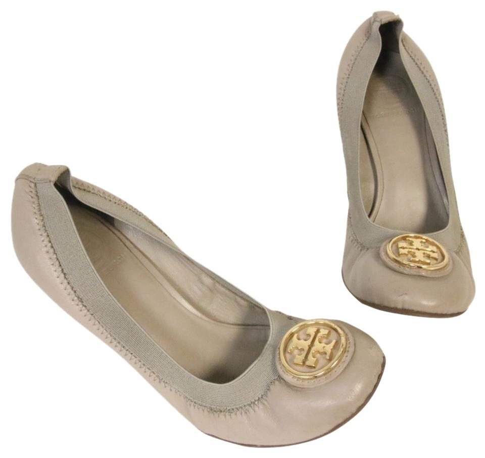 Tory Burch Gray Reva Gold Leather Elastic with Big Gold Reva Logo Wedges be9568