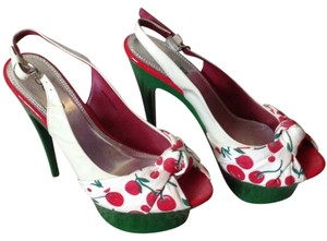 bebe Red, green and cream Platforms