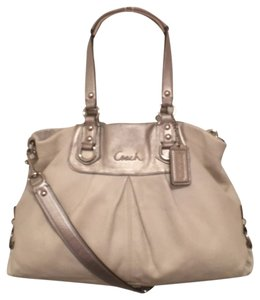 Coach Leather Shoulder Satchel in White Silver