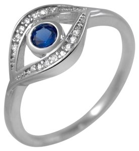 9.2.5 gorgeous blue sapphire and dia evil eye ring size 7.