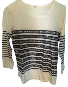 J.Crew Sequin Longsleeve Striped T Shirt White Blue