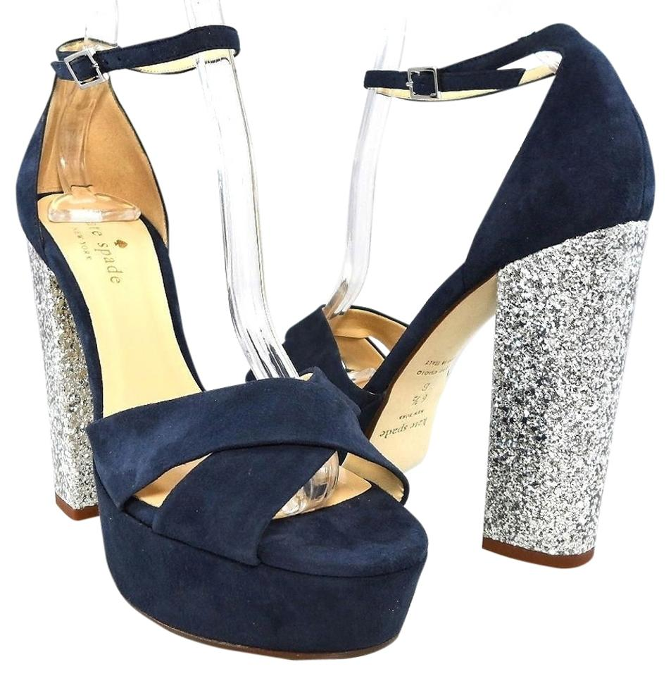 e9c94f322ca83 Kate Spade Navy   Silver Glitter Amazing Ankle Strap Suede Block Heels  Sandals Platforms