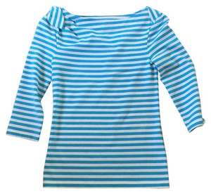 Kate Spade Top White and turquouise stripes