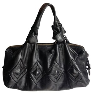 Elliott Lucca Leather Leather Leather Cow Leather Gunmetal Designer Italian Tooled Leather Diamond Channel Stitch Unique Modern Satchel in Black